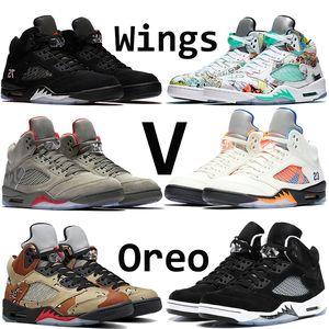 Hohe Qualität Wings feuerrot 5 V 5 s Basketball Schuhe schwarze Traube Oreo Sup Wüste internationalen Flug Herren Designer Sneaker Größe 40-47