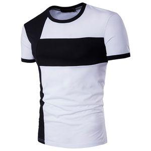 T-shirt Homme de grande taille personnalité Joint col Slim Fit Coton ronde rapide Trois sec couleur Chemises hommes