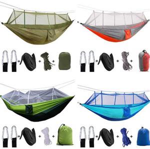 Hammock ao ar livre com Mosquito Net Ultraleve Nylon 2-5 Pessoas Camping aérea Tent Dormir Pad portátil Camping Bed Folding Pad