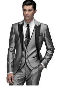 2019 Haute Qualité Brillant Argent Gris Hommes Costumes Sur Mesure Mariée Tuxedos De Mariage Formelle Robe De Bal Pour Hommes (Veste + Pantalon + Vest)