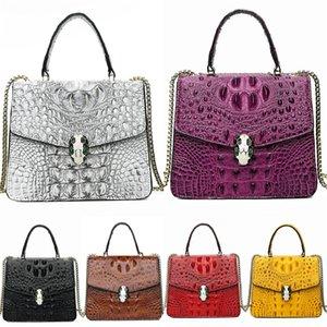 Fashion Rivet Women Bags Designer Crocodile Shoulder Bag Luxury Pu Leather Crossbody Bag Casual Geometric Large Totess Bag Chain#267
