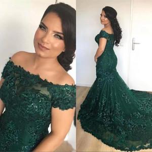 Verde escuro da sereia Vestidos de baile africanas 2020 fora do ombro Lace Sequins Corset Voltar longa noite vestidos de celebridades