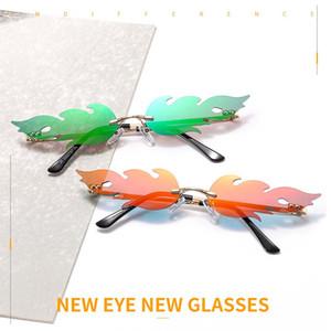 Caliente fuego llama gafas de sol de la llama GlassesWomen marca de diseño sin montura de gafas de lujo de onda de tendencias Reduzca los vidrios de Sun 2020