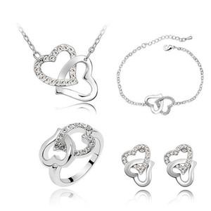 4 in set women brand wedding austrian Crystal rhinestones Heart pendant necklace bracelet earrings fashion Jewelry Sets