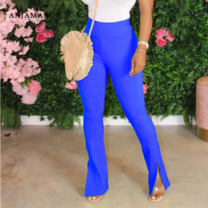 ANJAMANOR Sexy High Wasited Slit Flare Pants Plus Size Women Clothes 2020 Summer Solid Stretch Casual Trousers D29-AC40 T200603