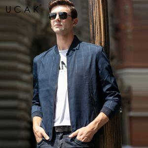 UCAK бренд мужской одежды уличная одежда куртка мода плед блузон Homme повседневная куртка Весна новое прибытие молния пальто U8077