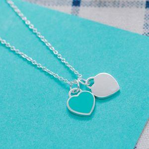 925 azul e rosa colar de esmalte Coração Pingente Lady Jóias Amor condoer Cadeia Personalização casamento Best Friends Amizade presente