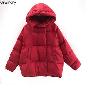Orwindny Mulheres curto frouxo Parkas Quente Inverno Jacket casaco vermelho de algodão acolchoado Casacos com capuz Outono Thicken Vestuário Y191007