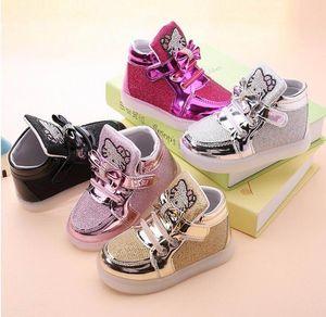 Bebés Meninas LED Luz Sapatos Criança antiderrapante sapatos Sports Botas Crianças Sapatilhas Crianças dos desenhos animados Flats 5 cores