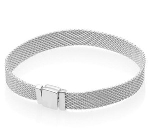 Orijinal 925 Ayar Gümüş Mesh Gümüş Refleksler Pan Bilezikler Bileklik Fit Kadınlar Boncuk Charm Avrupa Diy Takı