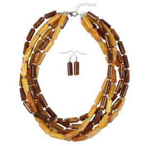 3pcs collier de bijoux cylindrique multicolore bicolore de la mode européenne et américaine ensemble de boucles d'oreilles