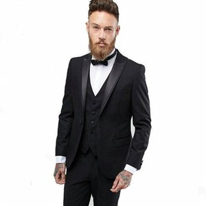 New High Quality One Button Black Groom Tuxedos Peak Lapel Groomsmen Best Man Suits Mens Wedding Suits (Jacket+Pants+Vest+Tie) 822