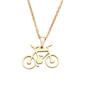 Schmuck Edelstahl-Halskette für Frauen Man Classic Fahrrad Gold- und Silber-Farben-Halsband-Anhänger-Halskette Verpflichtungs-Schmucksachen Frauen
