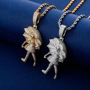 Hip Hop collier pendentif Glacé CZ Umbrella fille Pendentif Hommes Femmes Or Argent Couleur 4 mm Tennis chaîne Bijoux Collier