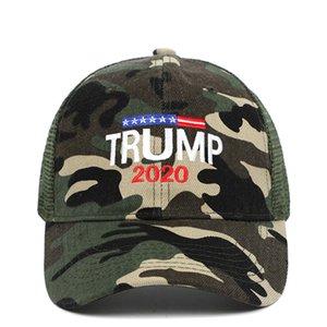 Donald Trump 2020 Cap Camouflage berretti da baseball del ricamo 3D Lettera esterna Cappello per il sole di sport 12pcs OOA8046