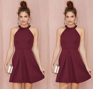 2019 Halter Backless Burgundy A Line Above Knee Length Prom Homecoming Gowns Custom Made Women Formal Wear Sexy Short Cocktail Party Dresses