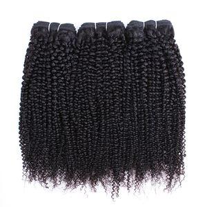 Afro rizado rizado paquetes de pelo brasileño indio peruano Virgen del pelo 3 o 4 Bundles 10-28 pulgadas Remy extensiones del pelo humano