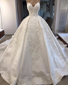 Vestido de fiesta sin tirantes con apliques de encaje con lentejuelas vintage Vestidos de novia Vestidos de novia de lujo talla grande Arabia Saudita Dubai Vestido de novia árabe