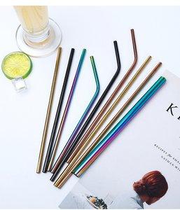 304 réutilisable en acier inoxydable Drianking Straws robuste Bent droite coloré Pailles en métal avec le nettoyant Pinceau Accessoires de cuisine