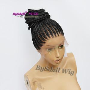 billige geflecht volle spitzeperücke synthetische schwarze farbe cornrow braids volle spitzeperücke ordentlich dicht flechten haarperücken für schwarze frauen
