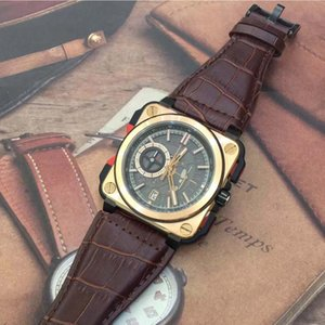 TOP LEVEL Vintage Skeleton Chronograph Quartz Sport Mens Diver Bronze Heritage Aviation Camouflage Brown Leather Band BR X1 Wristwatches