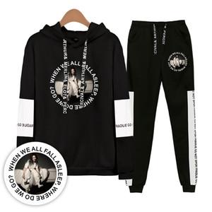 2019 Fashion Print Billie Eilish Felpe Felpe Donna / Uomo Felpa + Pantaloni sportivi Set 2 pezzi Abbigliamento sportivo da donna