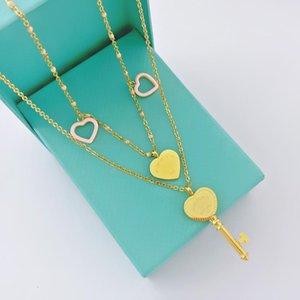 Двойной ключ сердце NecklaceFamous бренд синий розовый сердце кулон ожерелья из нержавеющей стали 316L Ожерелье для женщин подарок роскошь