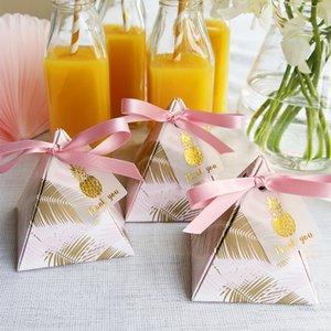 Hojas de piña favores de la boda triangular pirámide y caja de regalo con tarjeta Gracias cajas del caramelo de embalaje de regalo la decoración del bolso del partido
