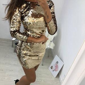 Образным вырезом платья O Осень Mini Gold Sequined Backless сексуальные женщины с длинным рукавом Christmas Party Club ремень Платья Vestidos Дизайнер одежды