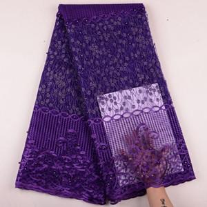 El último Purple Nigerian Tulle Lace 2019 French Net Lace Beads tela para bordado de la boda nigeriana tela de encaje africano Y1521