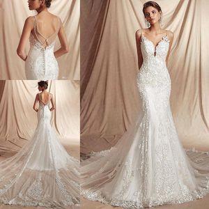 2020 Spagetti sapanlar Dantel Mermaid Beach Gelinlik Tül Aplike Boncuklu Sweep Tren Boho Wedding Gelinlik elbiseler de mariée BC2403