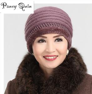 Cappelli invernali da donna coniglio maglia lana skullies femmina avverte cappello berretto all'ingrosso pelliccia berretti cappelli adulti casual femminile Skullies S18120302