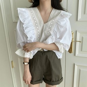 White Lace Ruffled Tops Summer Cute Sweet Preppy Style Korean Japan Womens Tops Blouses Single-Breasted Shirts White