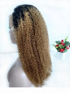 1B 27 Honey Blonde Lace Front Wig Raw Indian Kinky Curly Ombre Human Hair Colored Wigs Preplucked Blonde Curly Full Lace Wig Natural Hairlin