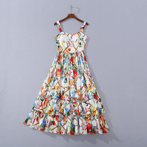 European and American women's wear 2020 summer new style Condole belt V-neck laminated cake Floral print dress