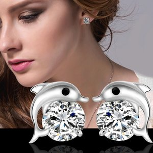Natural Austrian Rhinestone Crystal Dolphin s925 Sterling silver Stud Earrings Classic Swarovski Elements Fashion Class Women Girls Gift