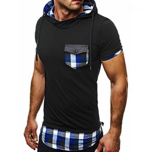 Short Sleeve Plaid Stampato TShirts Pocket con cappuccio Slim Mens magliette casual Uomo Abbigliamento Estate Designer Breve