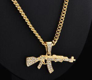 Fashion Choker Submachine Gun Necklaces Pendant for Women Crystal Rhinestone Chain Necklace Women Men Punk Hip Hop Jewelry Gift Bijoux