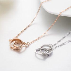 925 prata banhado Anel Duplo amor pingente colares com presente do Natal Cubic Zirconia Silver Rose cor do ouro Declaração Jóias