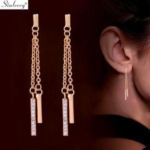 SINLEERY simple à long Tassel Boucles d'oreilles couleur or jaune Rose chaîne Inlay Boucles d'oreilles en cristal minuscule pour les femmes Bijoux ES087 SSH