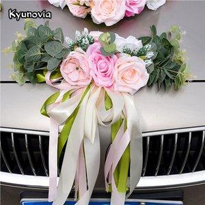 Kyunovia mariage voiture accessoires voiture toit Simulation de queue Décoration de mariage Décoration de voiture Fleur KY131 SH190920