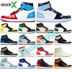 New 2020 Basketball Shoes 1s High OG Obsidian UNC To Chicago Pine Turbo Green Travis Scotts Bloodline 1 Jumpman Men Women Sports Sneaker
