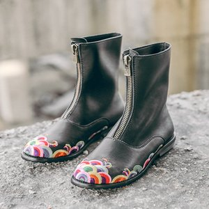 Nakış Kadınlar Martin Boots ile Kutu Lüks Vintage Klasik Casual Çizme Kırmızı Alt Lady Roman Boots Retro Stil Tasarımcı Ayakkabı 35-40