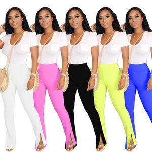 Women Solid Track Pants for Sports High Waist Skinny Long Pants Split Bottom Fashion Lady Flare Trousers 2020 Summer Hot Sale 5 Colors