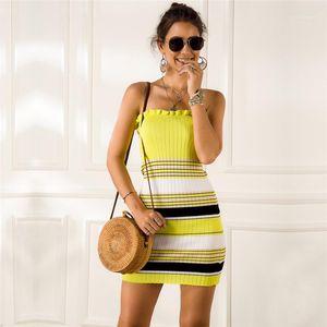 Elbiseler Moda Doğal Renk Kolsuz Elbiseler Casual Slash Boyun BODYCON Elbiseler Kadın Giyim Kadın Tasarımcısı Striped yazdır