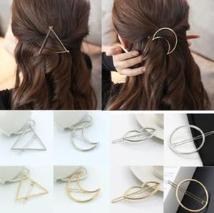 Moda Kadın Saç Aksesuarları Üçgen Saç Klip Kızlar Tokalar Metal Geometrik Alaşım Headdress Daire Toka Tokası Tutucu Karışık DHL
