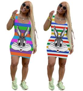 Mulheres sensuais lantejoulas vestir desenhos animados mini-saias sem mangas casuais vestidos de moda clubwear roupas de verão vestido listrado magro, mais ssize 3106