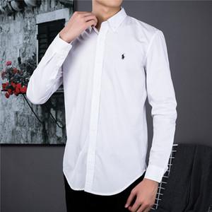 Polo de lujo camisa de los hombres de negocios Pony Marcos ocasional de la camisa delgada de algodón del diseño de marca de color sólido camisa bordado potro marca camisas de manga larga