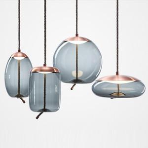 스칸디나비아 북유럽 거실 BROKIS 매듭 펜던트 램프 머리맡 Luminaria 데코 유리 광택 전등 90-265v 교수형