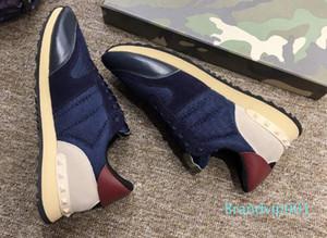 2018 Sıcak Satış Aşıklar Erkek Kadın Düşük En Perçinler VALEN Espadrilles Mesh Ayakkabı Casual Spor ayakkabılar Gerçek Deri Düz Spor Ayakkabı YA